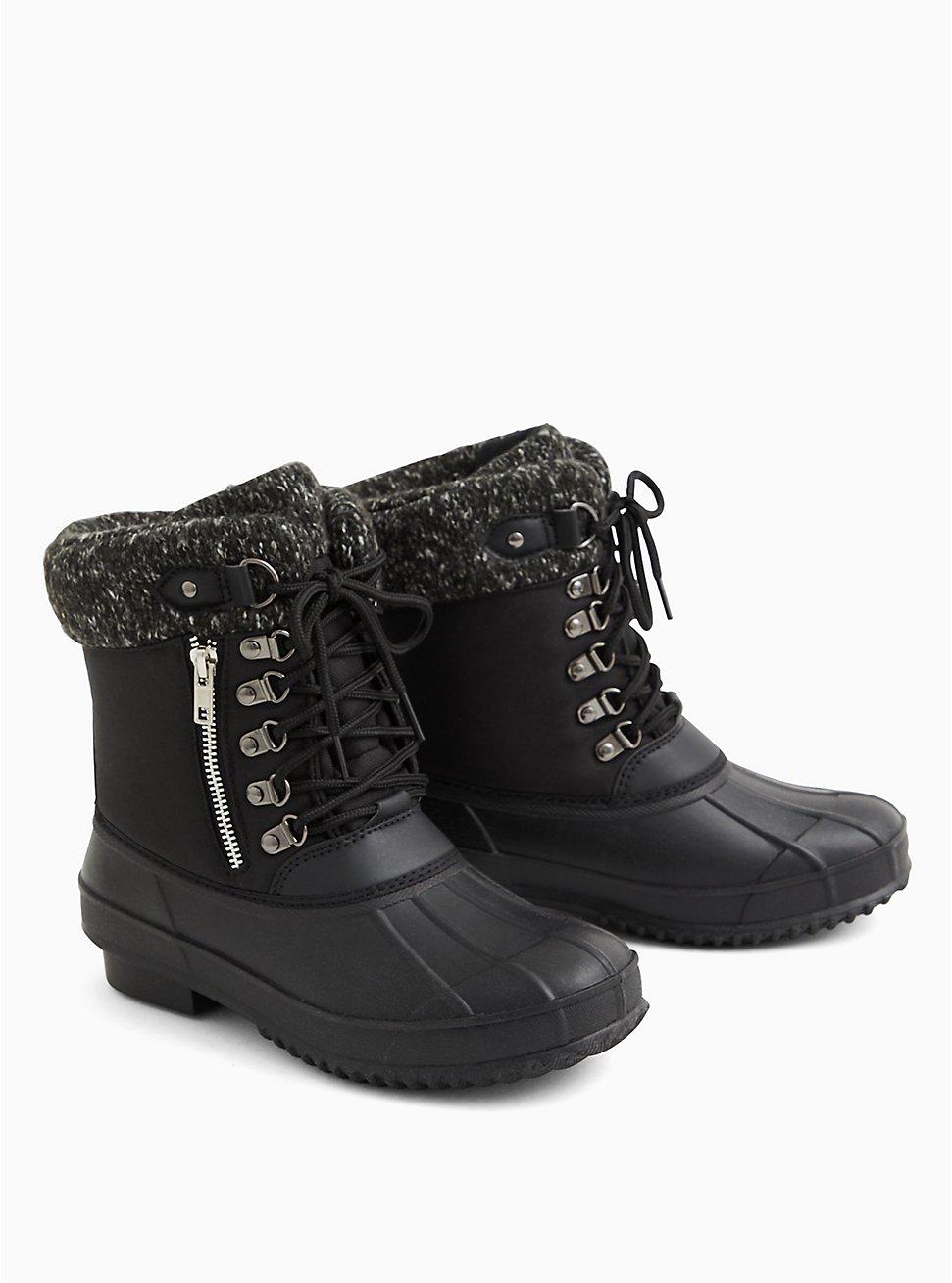 Black Nylon Sweater-Trimmed Duck Boot (WW), BLACK, hi-res