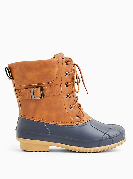 Plus Size  Duck Boot - Water Resistant Faux Leather Faux Cognac (WW), TAN/BEIGE, alternate