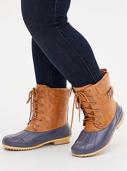 Plus Size  Duck Boot - Water Resistant Faux Leather Faux Cognac (WW), TAN/BEIGE, hi-res