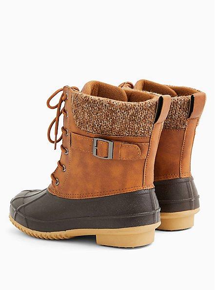 Plus Size Chestnut Faux Leather Faux Fur-Trimmed Duck Boot (WW), BROWN, alternate