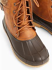 Chestnut Faux Leather Faux Fur-Trimmed Duck Boot (WW), BROWN, alternate
