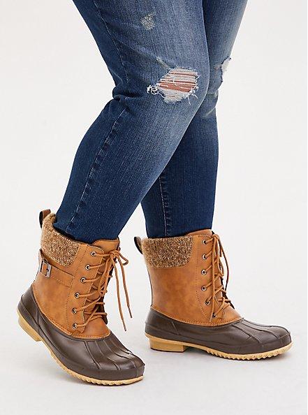 Plus Size Chestnut Faux Leather Faux Fur-Trimmed Duck Boot (WW), BROWN, hi-res