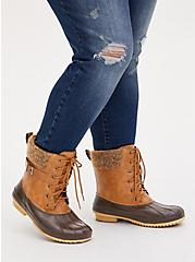 Chestnut Faux Leather Faux Fur-Trimmed Duck Boot (WW), BROWN, hi-res