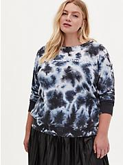 Plus Size Not Sorry Black & White Tie-Dye Fleece Crew Sweatshirt, DEEP BLACK, alternate