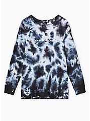 Plus Size Not Sorry Black & White Tie-Dye Fleece Crew Sweatshirt, DEEP BLACK, hi-res