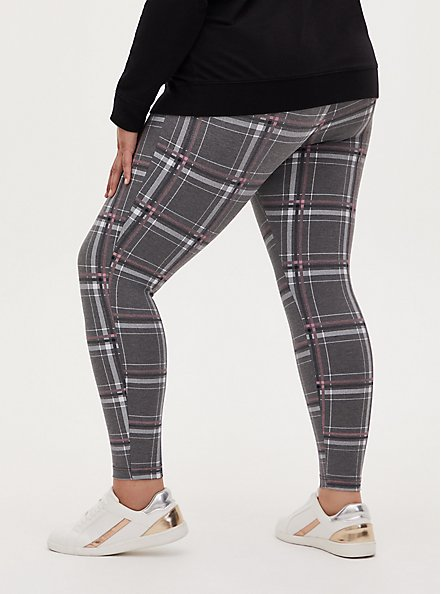 Plus Size Studio Ponte Slim Fix Heather Grey Plaid Pull-On Pixie Pant, PLAID - GREY, alternate