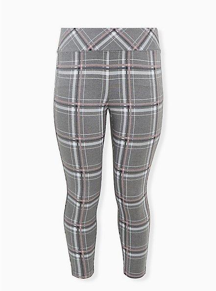 Plus Size Studio Ponte Slim Fix Heather Grey Plaid Pull-On Pixie Pant, PLAID - GREY, hi-res