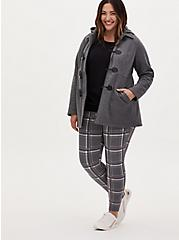 Studio Ponte Slim Fix Heather Grey Plaid Pull-On Pixie Pant, PLAID - GREY, hi-res