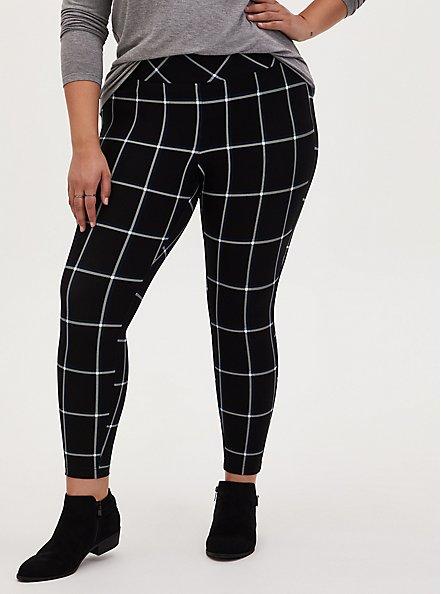 Studio Ponte Slim Fix Black Plaid Pull-On Pixie Pant, PLAID - BLACK, alternate