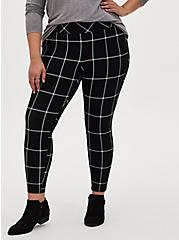 Studio Ponte Slim Fix Black Plaid Pull-On Pixie Pant, PLAID - BLACK, alternate