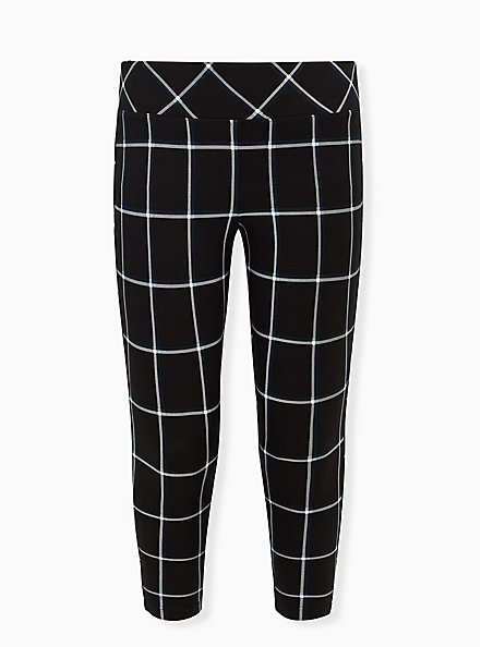 Studio Ponte Slim Fix Black Plaid Pull-On Pixie Pant, PLAID - BLACK, hi-res