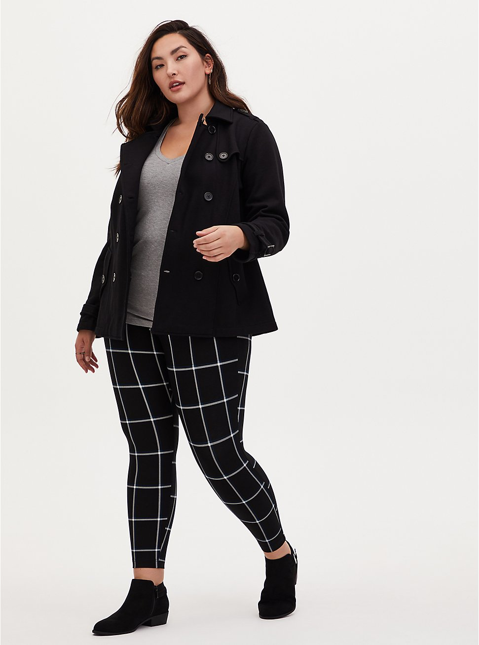 Studio Ponte Slim Fix Black Plaid Pull-On Pixie Pant, PLAID - BLACK, hi-res