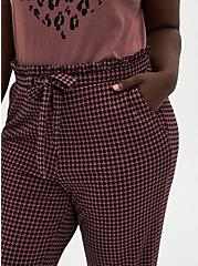 Plus Size Premium Ponte Paperbag Waist Tapered Pant - Herringbone Walnut, HERRINGBONE PLAID, alternate