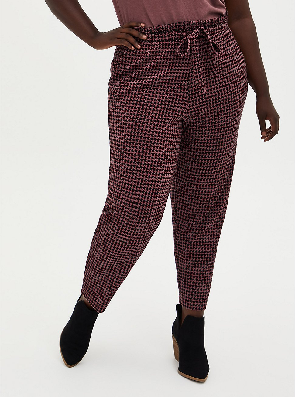 Plus Size Premium Ponte Paperbag Waist Tapered Pant - Herringbone Walnut, HERRINGBONE PLAID, hi-res