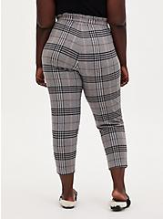 Premium Ponte Paperbag Waist Tapered Pant - Grey Plaid, PLAID - GREY, alternate