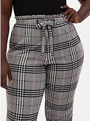 Grey Plaid Premium Ponte Drawstring Paperbag Pant, PLAID - GREY, alternate