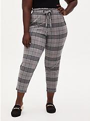 Premium Ponte Paperbag Waist Tapered Pant - Grey Plaid, PLAID - GREY, hi-res