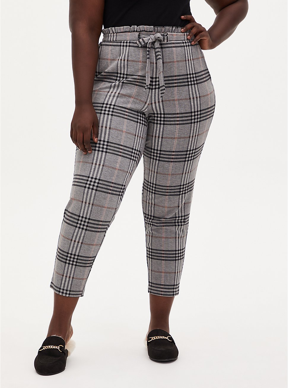 Grey Plaid Premium Ponte Drawstring Paperbag Pant, PLAID - GREY, hi-res