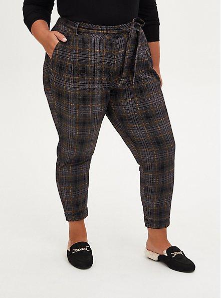 Textured Plaid Crepe Self Tie Pant, PLAID - MULTI, hi-res
