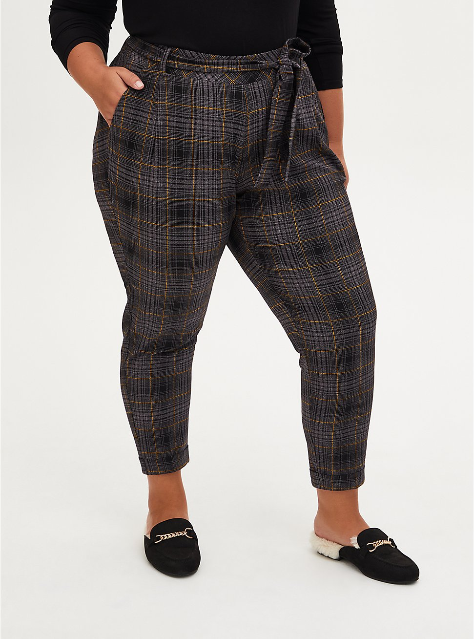 Plus Size Textured Plaid Crepe Self Tie Pant, PLAID - MULTI, hi-res