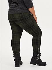 Studio Signature Premium Ponte Green Zip Skinny Pant, PLAID - OLIVE, alternate