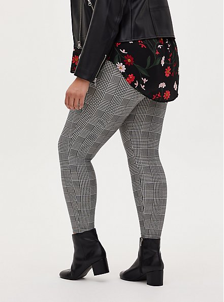 Studio Ponte Slim Fix Grey Plaid Pull-On Pixie Pant, PLAID - BLACK, alternate