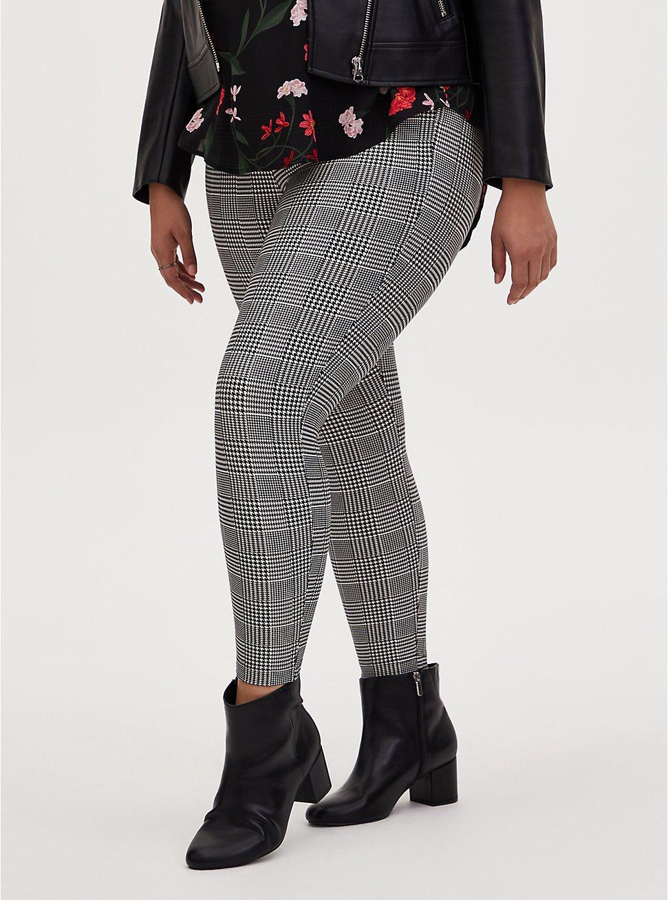 Studio Ponte Slim Fix Grey Plaid Pull-On Pixie Pant, PLAID - BLACK, hi-res