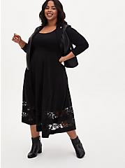 Black Premium Ponte Tea Length Dress, DEEP BLACK, alternate