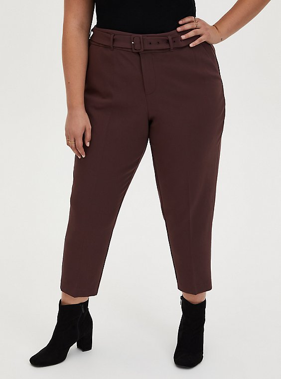 Rust Brown Belted Trouser, , hi-res