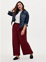Red Studio Knit Self Tie Wide Leg Pant, RED, alternate