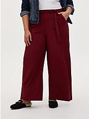 Red Studio Knit Self Tie Wide Leg Pant, RED, hi-res