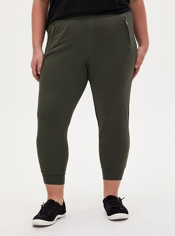 Relaxed Fit Jogger - Ponte Forest Green, , hi-res