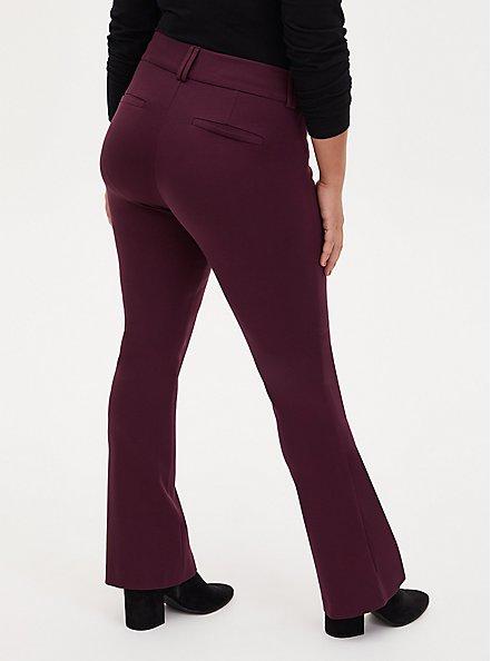 Studio Signature Premium Ponte Dark Wine Trouser, RED, alternate
