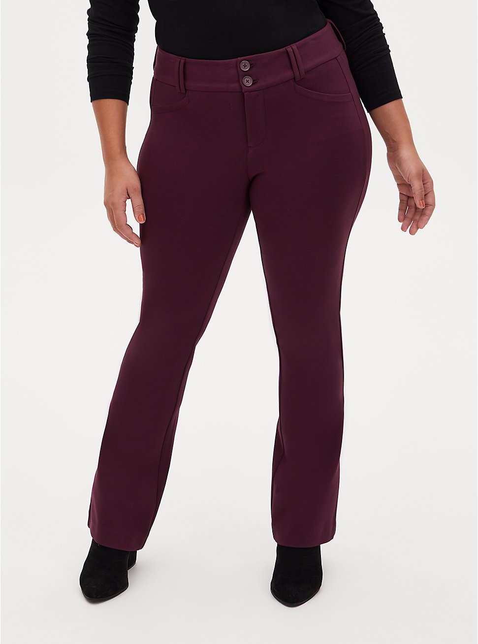 Studio Signature Premium Ponte Dark Wine Trouser, RED, hi-res