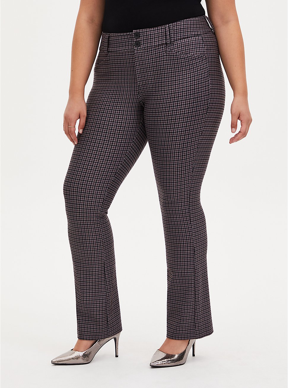 Studio Signature Stretch Grey Plaid Premium Ponte Menswear Trouser, PLAID - MULTI, hi-res