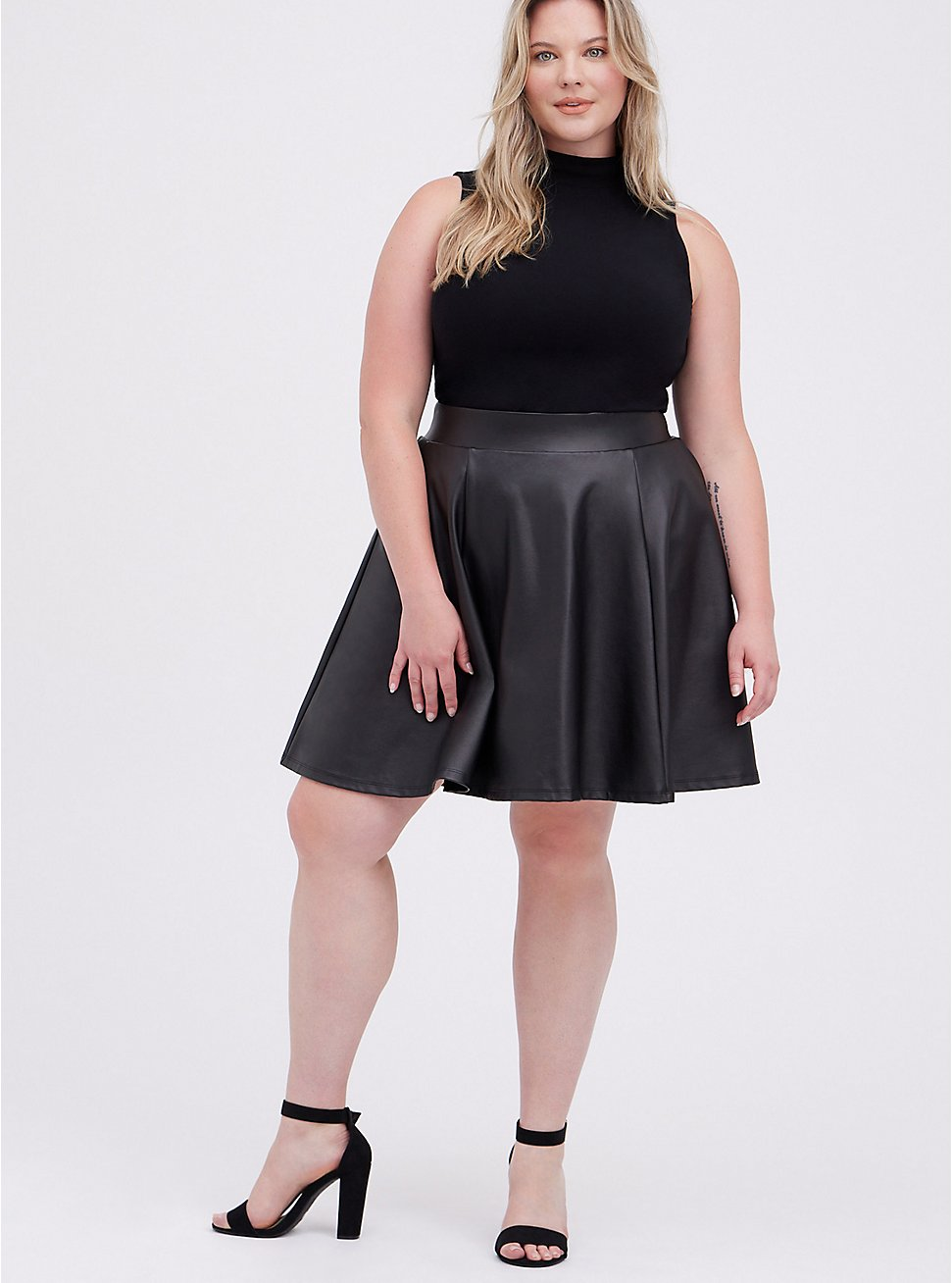 Black Coated Premium Ponte Skater Mini Skirt, DEEP BLACK, hi-res