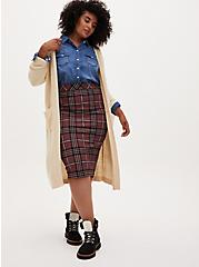 Brown Plaid Ponte Pencil Skirt, PLAID - BROWN, alternate