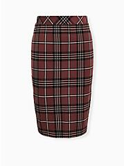 Brown Plaid Ponte Pencil Skirt, PLAID - BROWN, hi-res