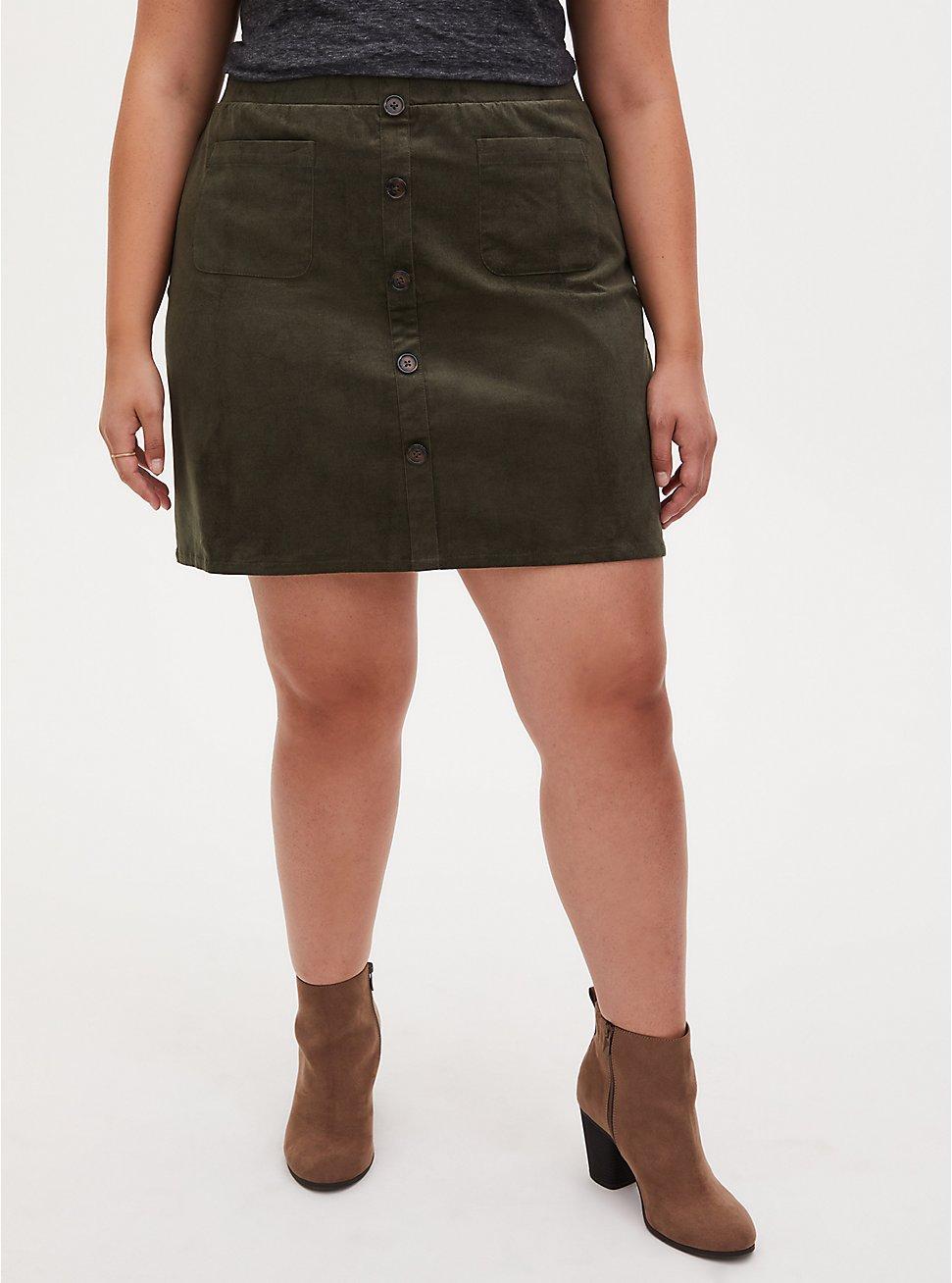 Olive Green Corduroy Button Mini Skirt, DEEP DEPTHS, hi-res