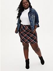 Premium Ponte Plaid Mini Skirt, PLAID - BLACK, alternate