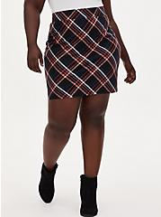 Premium Ponte Plaid Mini Skirt, PLAID - BLACK, hi-res