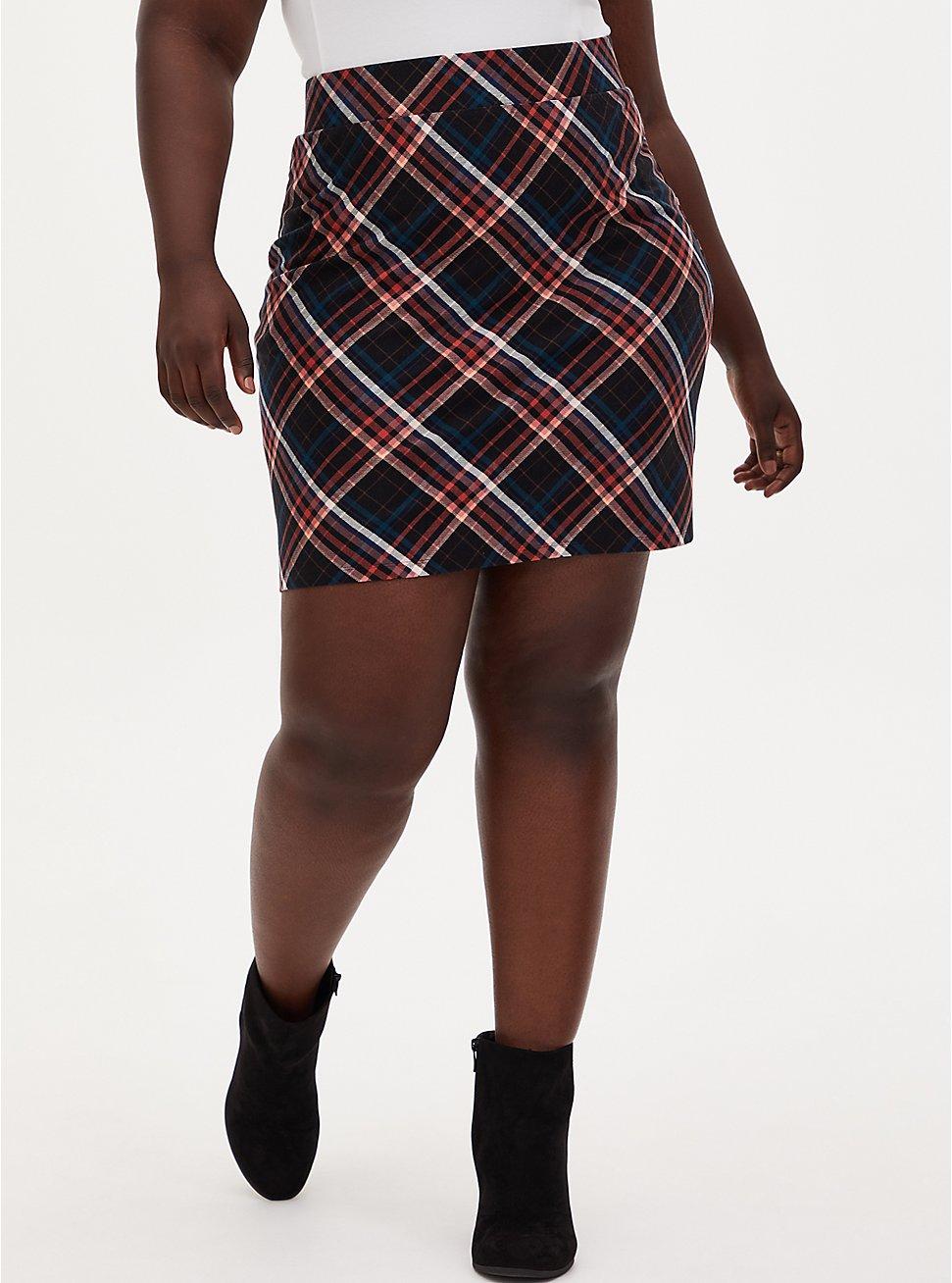 Plus Size Premium Ponte Multi Plaid Mini Skirt, PLAID - BLACK, hi-res