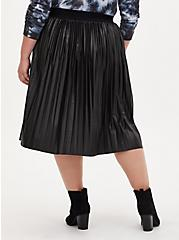 Black Premium Ponte Coated Pleated Midi Skirt, DEEP BLACK, alternate