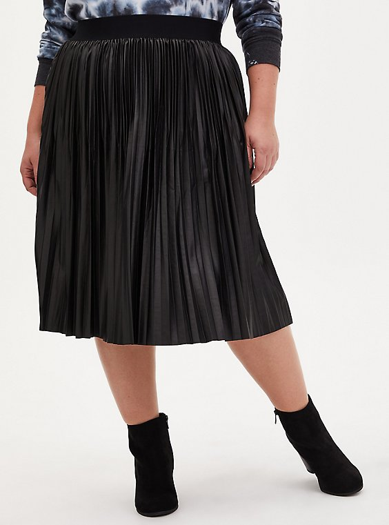 Black Premium Ponte Coated Pleated Midi Skirt, , hi-res