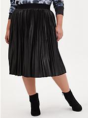Black Premium Ponte Coated Pleated Midi Skirt, DEEP BLACK, hi-res