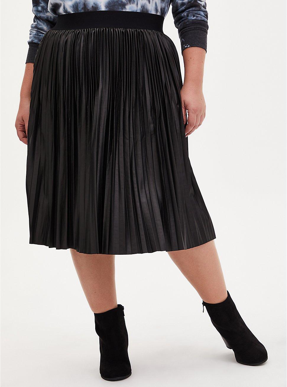 Plus Size Black Premium Ponte Coated Pleated Midi Skirt, DEEP BLACK, hi-res