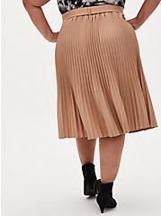 Camel Belted Accordion Pleated Midi Skirt, MACCHIATO BEIGE, alternate
