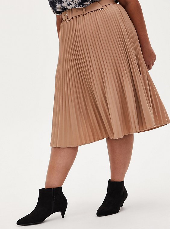 Camel Belted Accordion Pleated Midi Skirt, , hi-res