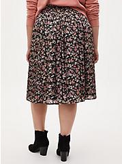 Black Floral Liquid Woven Midi Skirt, FLORAL - BLACK, alternate