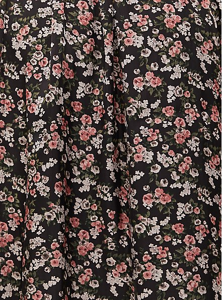 Black Floral Chiffon Midi Skirt, FLORAL - BLACK, alternate